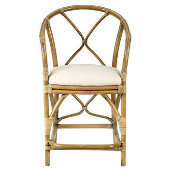 Layla Rattan Counter Stool, Nutmeg/Ivory, Bar & Counter Stools