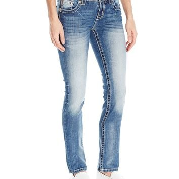 Miss Me Women's Bead and Faux Leather Accent Straight Leg Denim Jean