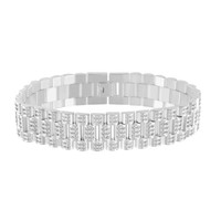 14k White Gold Finish Mens Presidential Iced Stainless Steel Bracelet