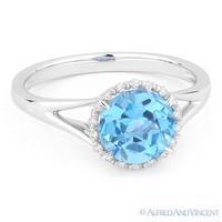 1.88 ct Round Cut Blue Topaz Diamond Halo Engagement Promise Ring 14k White Gold