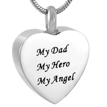 MJD9788 My Dad My Hero My Angel Family Love Heart Custom Cremation Jewelry Keepsake Memorial Urn Necklace