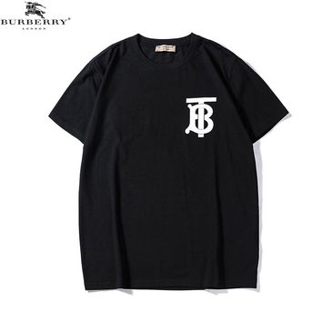 Burberry 2018 summer new TB letter printed round neck short-sleeved T-shirt Black