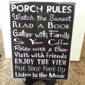 Porch Rules Sign /Wall Art/ Porch Rules Home Decor for Patios and Porches /  Subway Print Porch Rules for indoors or outdoors /FREE SHIPPING