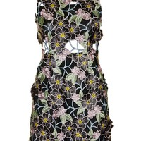 PU Floral Applique Shift Dress - Topshop