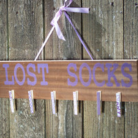 Lost socks sign in purple with decorated clothes pins laundry room sign