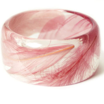 Feather Jewelry-  Pink Feather Bangle- Pink Feather Jewelry- Resin Jewelry- Flower Bangle- Pink  Bracelet