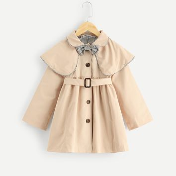 Girls Collar With Bow Detail Buttoned Coat