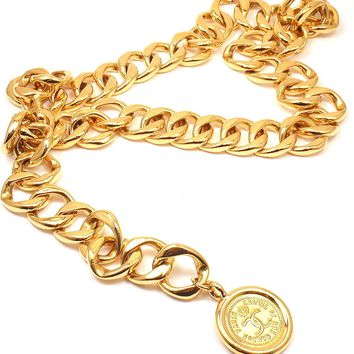 GORGEOUS AUTHENTIC CHANEL EXTRA CHUNKY GOLD TONE LOGO BELT/ NECKLACE, 31""