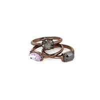FOREVER 21 Faux Gem & Rhinestone Ring Set Grey/Brown