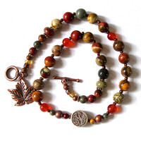 Beaded Bracelet Nature Inspired Red Creek Jasper and Carnelian Beaded Bracelet Beautiful Autumn Colors Copper Leaf and Tree Of Life Bead