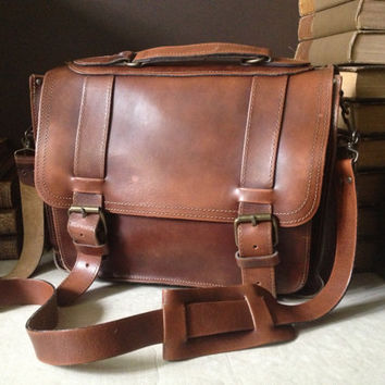 Vtg Handcrafted Sienna Brown Leather Crossbody Briefcase // Attache