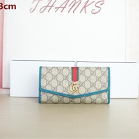 """Gucci"" Fashion Casual Multicolor Dual GG Purse Long Section Fold Wallet Clutch Bag"