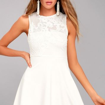 Doily Darling White Lace Skater Dress