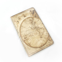 World Travel Journal, Antique Map Notebook, Vintage Style Travel Log, Adventure, Wanderlust, Graduation Gift, Altered Travel Journal
