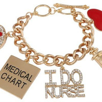 Goldtone Iced Out I Do Nurse Adjustable Toggle Bracelet with Dangling Charms