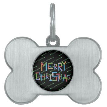 Merry Christmas Pet Name Tag
