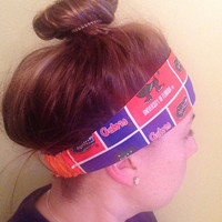 workout yoga headband - University of Florida Gators themed fabric reversible bright orange - secure fit elastic back