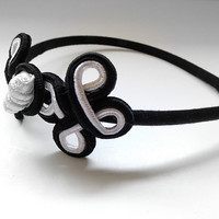 Black and White Vintage Corded Chinese Frog Narrow Headband