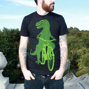 Dinosaur on a Bicycle  T Shirt  Unisex by darkcycleclothing