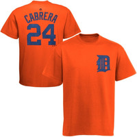 Miguel Cabrera Detroit Tigers Majestic Official Name and Number T-Shirt – Orange