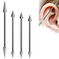 316L Surgical Steel Industrial Barbell with Spikes