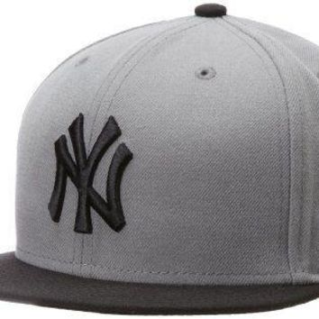 NEW YORK YANKEES Storm Grey Black New Era 5950 Cap MLB Baseball Fitted Hat NY
