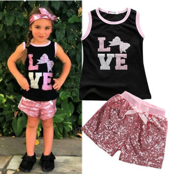 2pcs Children Toddler Kids Baby Infant Girls Clothes Sets Sequins Top Vest T-shirt Shorts Bow Pink Cotton Summer 2pcs Girls 2016