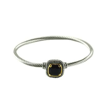 Chartra Black Crystal Silver Cable Bangle Bracelet
