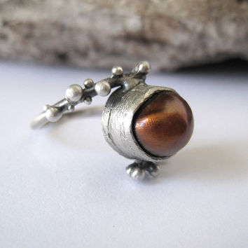 Sterling silver granulation ring with natural brown baroque pearl. Ready to ship in US size 6