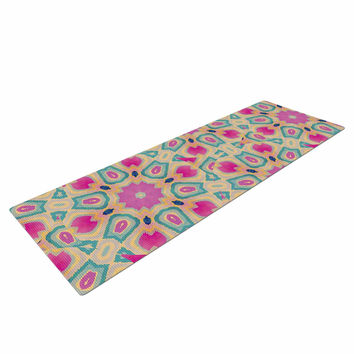 "Nika Martinez ""Arabesque"" Pink Teal Yoga Mat"