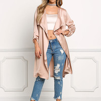 Blush Satin Layered Light Duster Coat