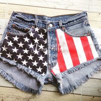 High waisted shorts Levis American flag Red White and Blue Stars and Stripes cut offs denim by Jeansonly