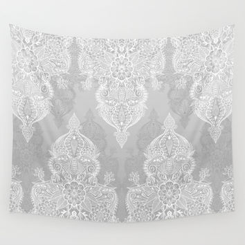 Lace & Shadows 2 - Monochrome Moroccan doodle Wall Tapestry by Micklyn