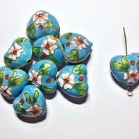 set of 4 pieces blue heart cloisonne beads with floral design, 20mm diameter - C128