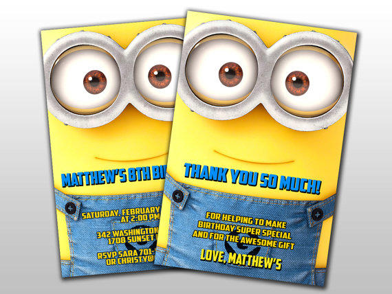 Minions Birthday Invitation and Thank You from LOLLIPOPCARD on
