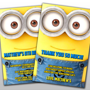 Minions Birthday Invitation and Thank You Card, Design for digital file