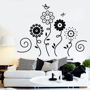 Vinyl Wall Decal Flowers Garden Birds Nature Art Decor For Nursery Stickers Unique Gift (1238ig)