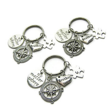 3 No Matter Where Keychains, Compass Keychains, Puzzle Piece Keychains, Brothers Keychains, Keychains For Brothers ,Personalized