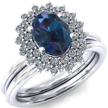 Eridanus Oval Alexandrite Cluster Diamond Halo Wedding Ring