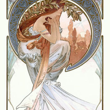 Nouveau The Arts Poetry by Alphonse Mucha Fine Art Print