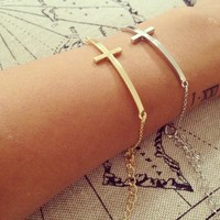 Delicate Cross Bracelet from Papers & Peonies
