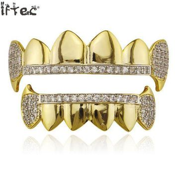 ac PEAPO2Q Iftec Gold Hip Hop Teeth Grillz Micro Pave Cubic Zircon Top&bottom Vampire Fangs Teeth Grills Set Holleween Gift Men Women