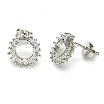 Sterling Silver 02.285.0005 Stud Earring, Star Design, with White Cubic Zirconia, Polished Finish, Rhodium Tone
