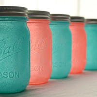 SALE - Stained Glass Mason Jars - Set of 6 - Aqua Blue and Coral