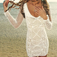 White Cut Out Long Sleeve Beach Dress Bikini Cover