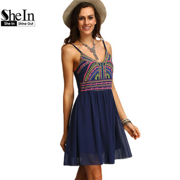 SheIn Print Dresses Boho Women Clothing  Womens Sexy Multicolor Spaghetti Strap Short Summer Sundresses