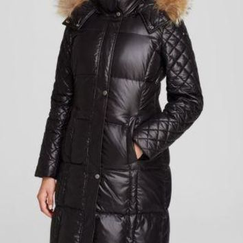 Marc New York by Andrew Marc Women's Black Quilted Puffer Coat w/ Fur Trim Hood