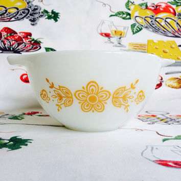 Pyrex Butterfly Gold Cinderella Bowl 441 Vintage Kitchen Milk Glass Mixing Bowl