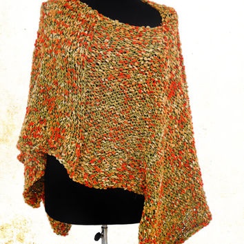 Orange  Poncho Knit  Poncho Mexican Poncho Hand Knit Cape  Boho Scarf Hippie Poncho Poncho  For Women  Womens Accessories  Gypsy poncho