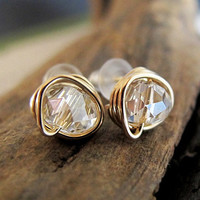 Gold Wrapped Crystal Quartz Studs - 14k Gold Filled Stud Earrings - Clear Faceted Crystal Posts Elegant Jewelry Diamond Earrings Minimalist